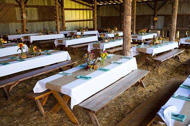 Barn Wedding Reception Detail stock photo