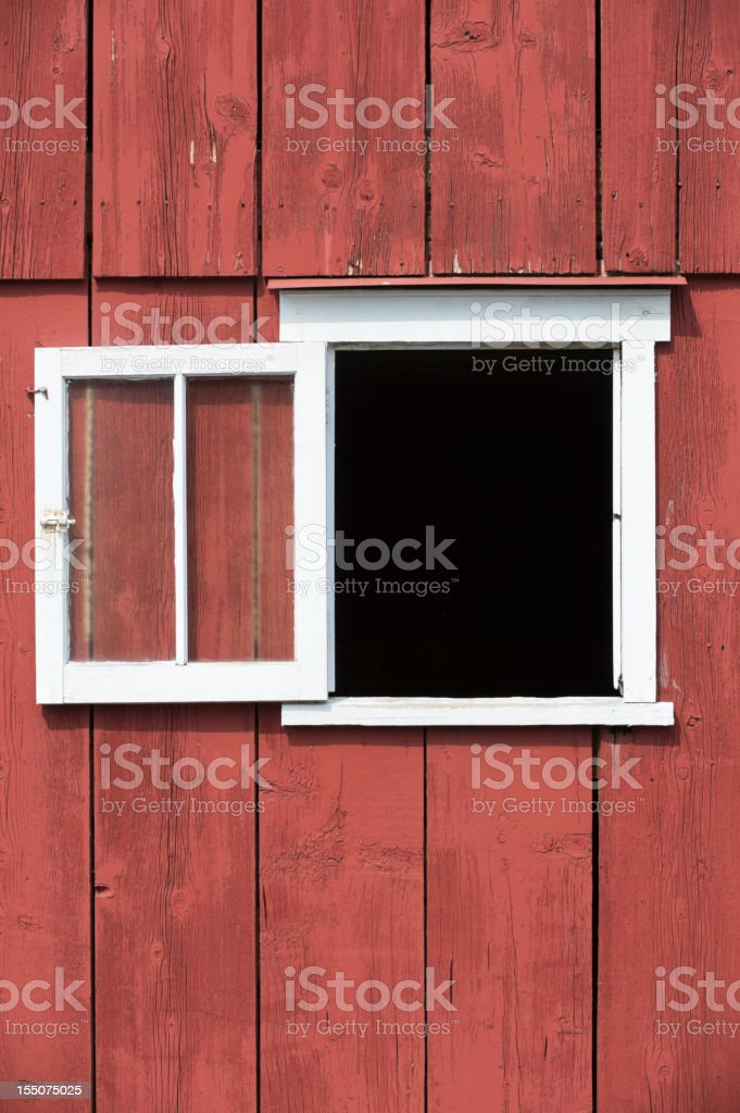 Barn Window in Red Wall Close Up, Design Element stock photo