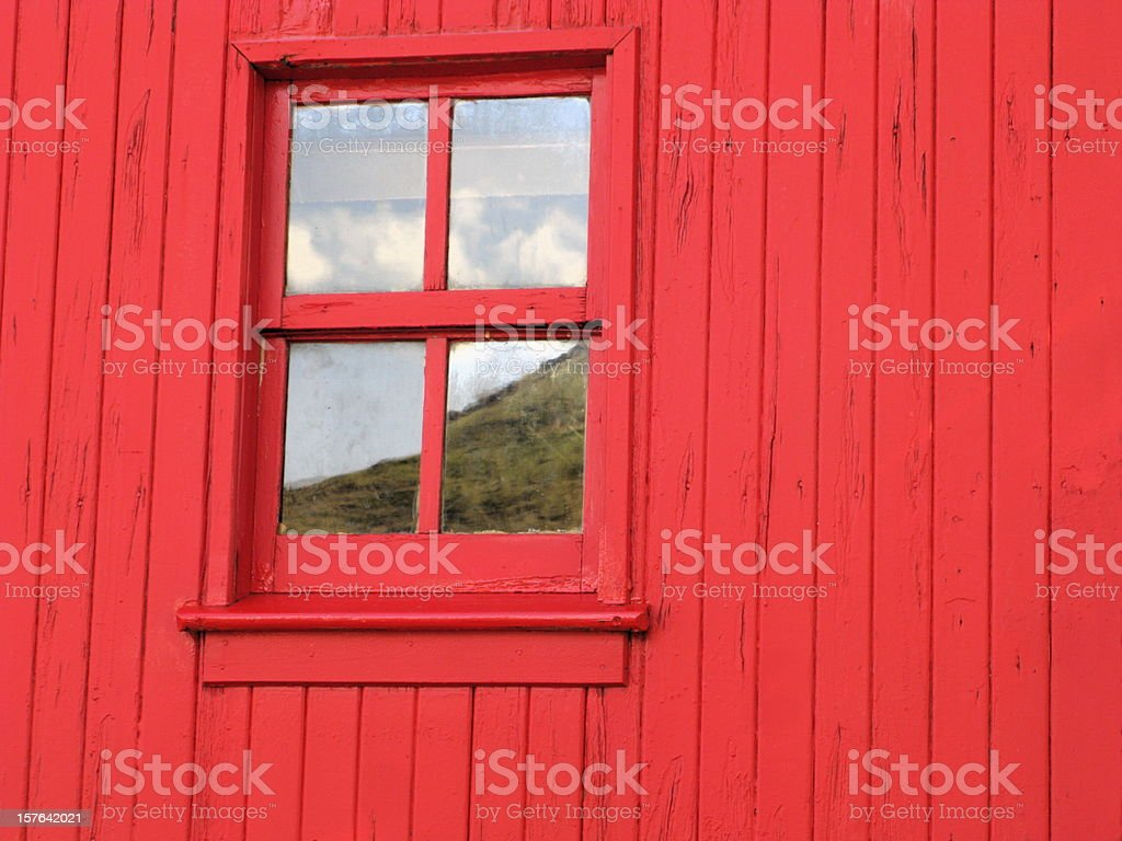 Barn Window Reflection Red stock photo