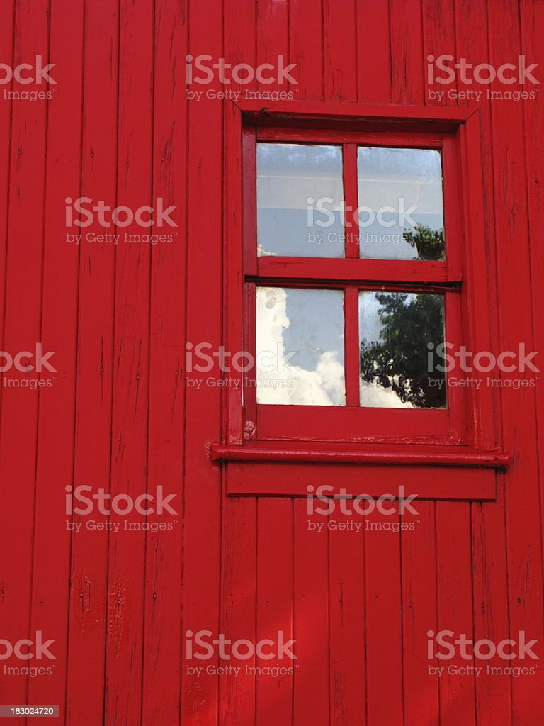 Barn Window Reflection Red Plank royalty-free stock photo