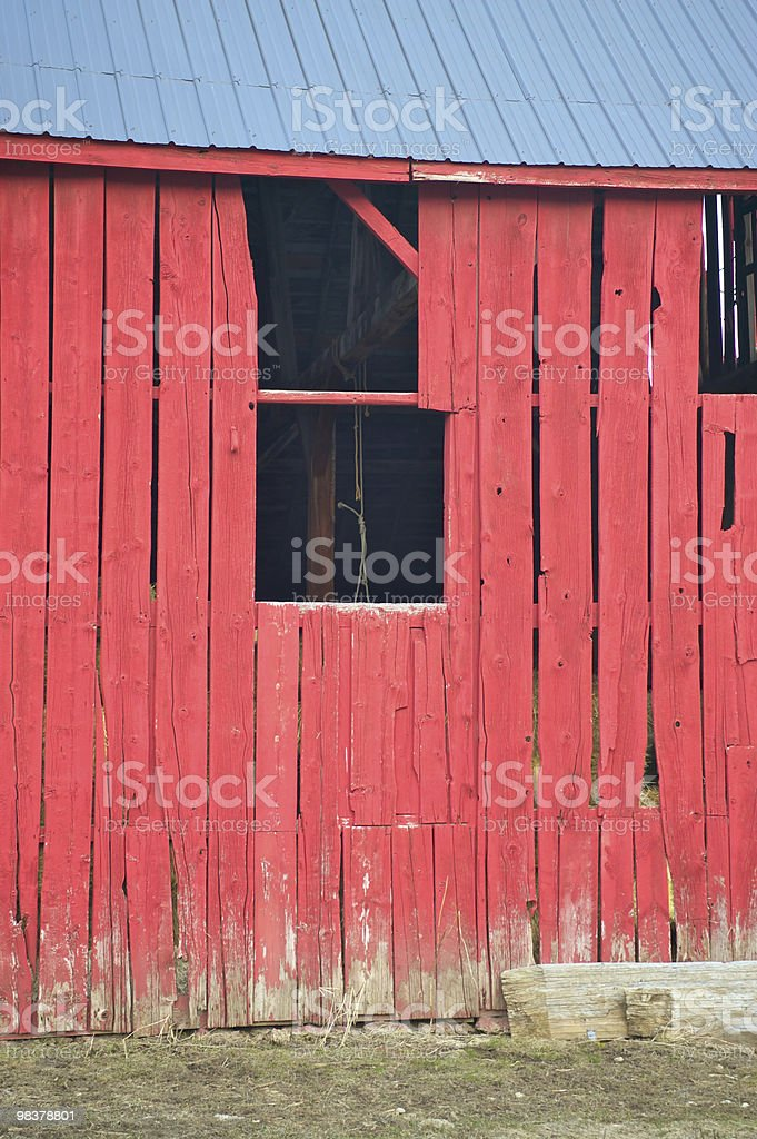 Barn window with hanging rope royalty-free stock photo