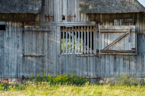 Barn with closed weathered door
