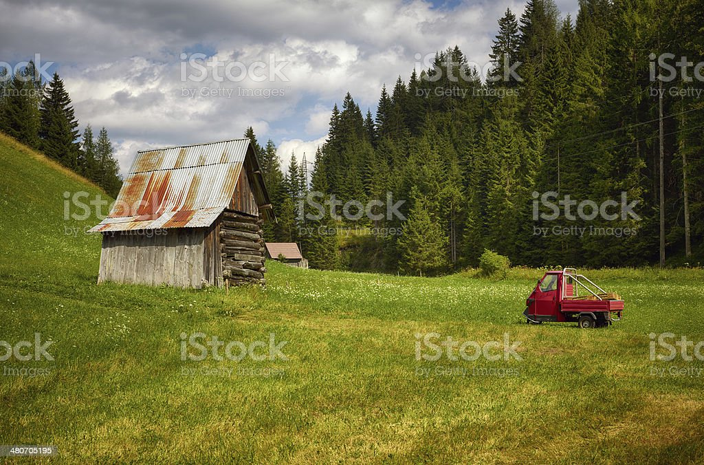 Barn with minivan. Color Image royalty-free stock photo