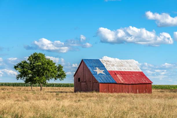 Barn with Texas Flag