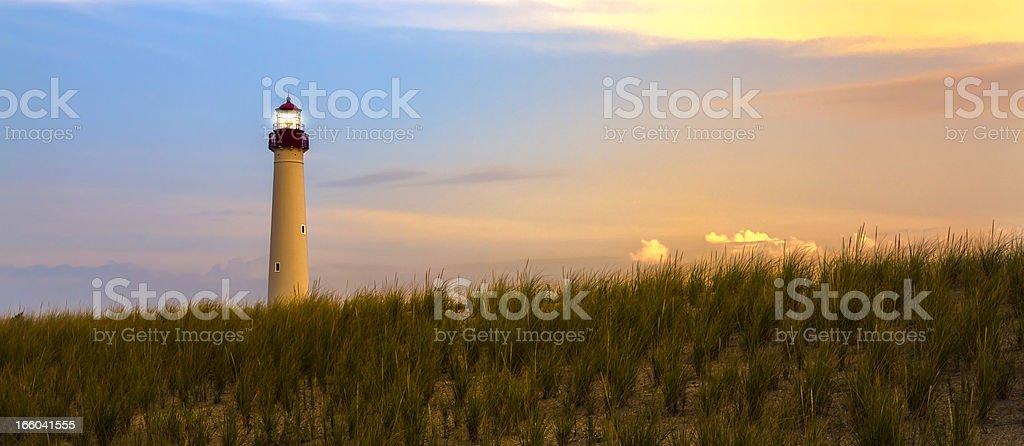 Barnegat Lighthouse at sunset, New Jersey stock photo