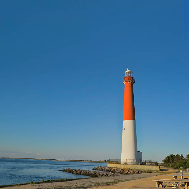 Barnegat Lighthouse, New Jersey seen from the beach stock photo
