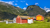 Barns and sheds in norwegian farm village in Hardangervidda National Park Norway