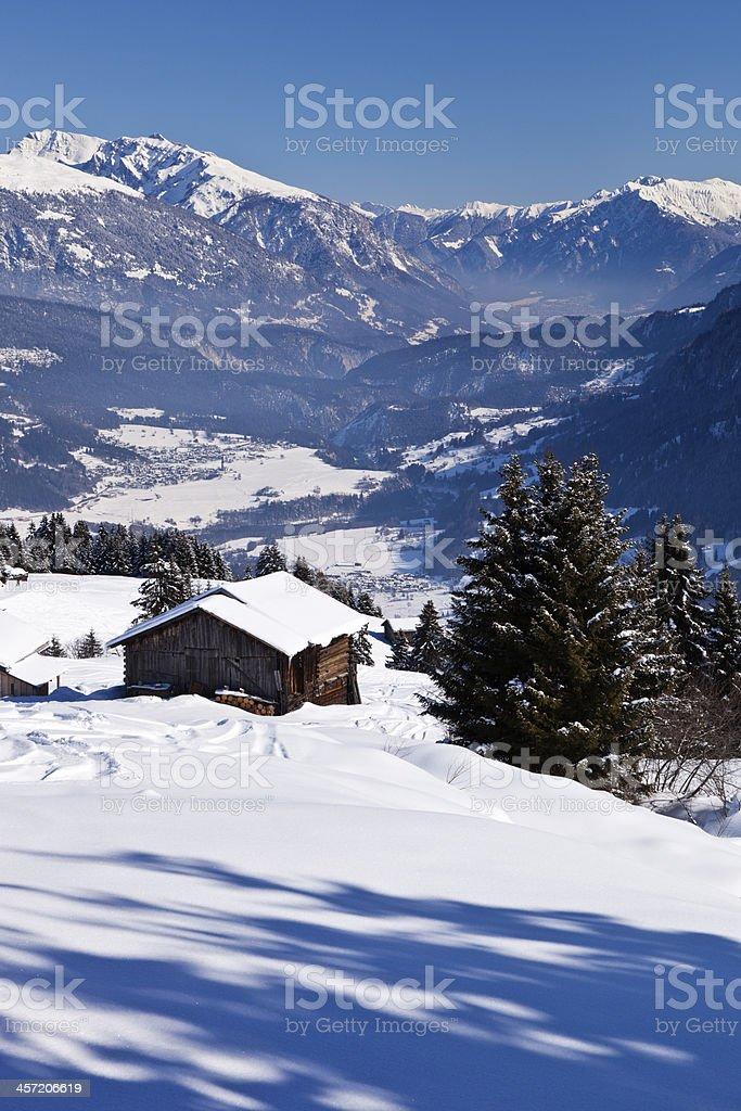 Barns in Winter Landscape stock photo