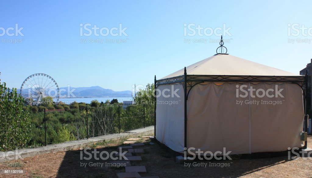 Barnum on a terrace in Antibes stock photo