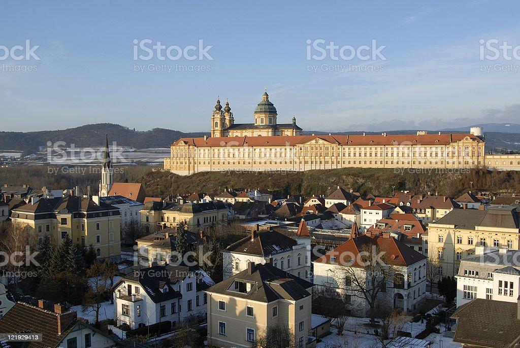 Barockstift und Stadt Melk in der Wachau stock photo