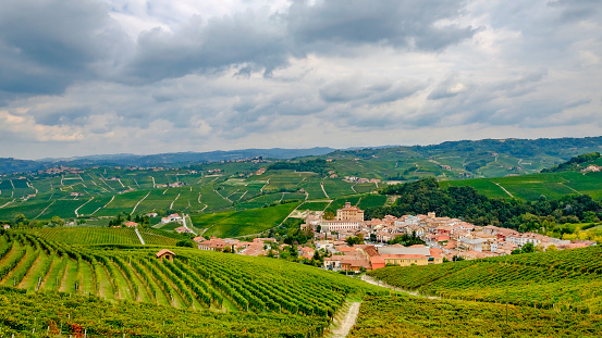 948424058 istock photo Barolo among its vineyards in the Langhe, a hilly area mostly based on vine cultivation and well known for the production of Barolo wine. Province of Cuneo, Piedmont, Italy 948424714
