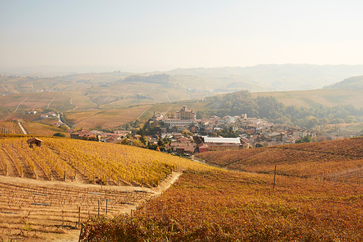 948424058 istock photo Barolo town surrounded by vineyards in autumn in a sunny day in Piedmont, Italy 922593376