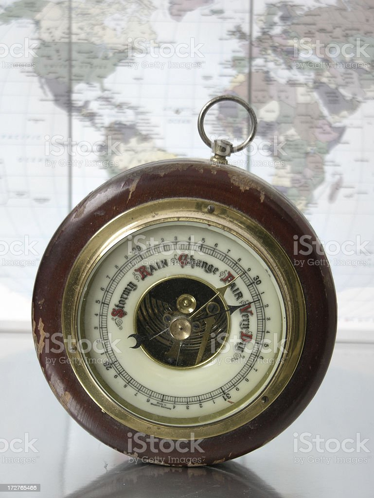 Barometer and Map stock photo