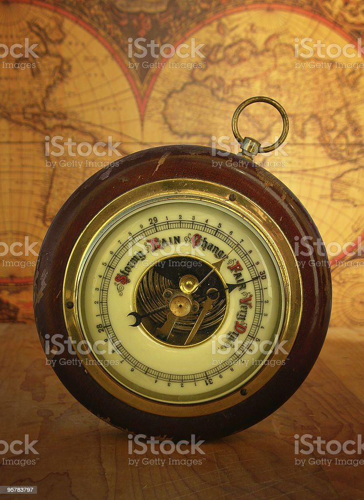 Barometer and World Map stock photo