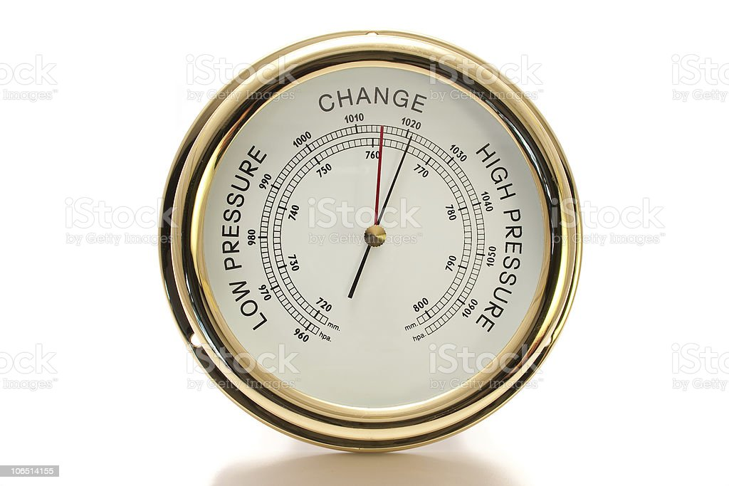 Barometer Brass with White Face Isolated stock photo