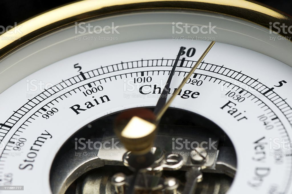 Barometer Close Up Stormy Rain Change Fair stock photo