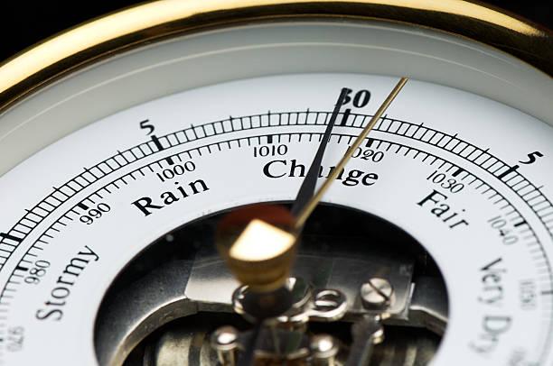barometer close up stormy rain change fair - barometer bildbanksfoton och bilder
