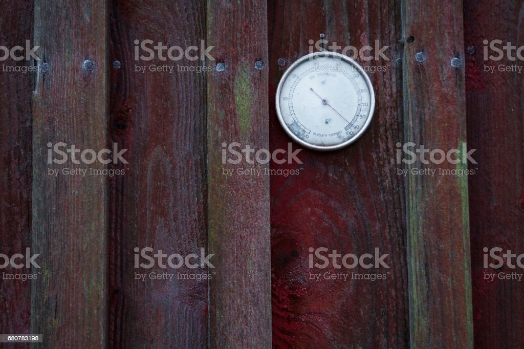 Barometer covered in frost stock photo