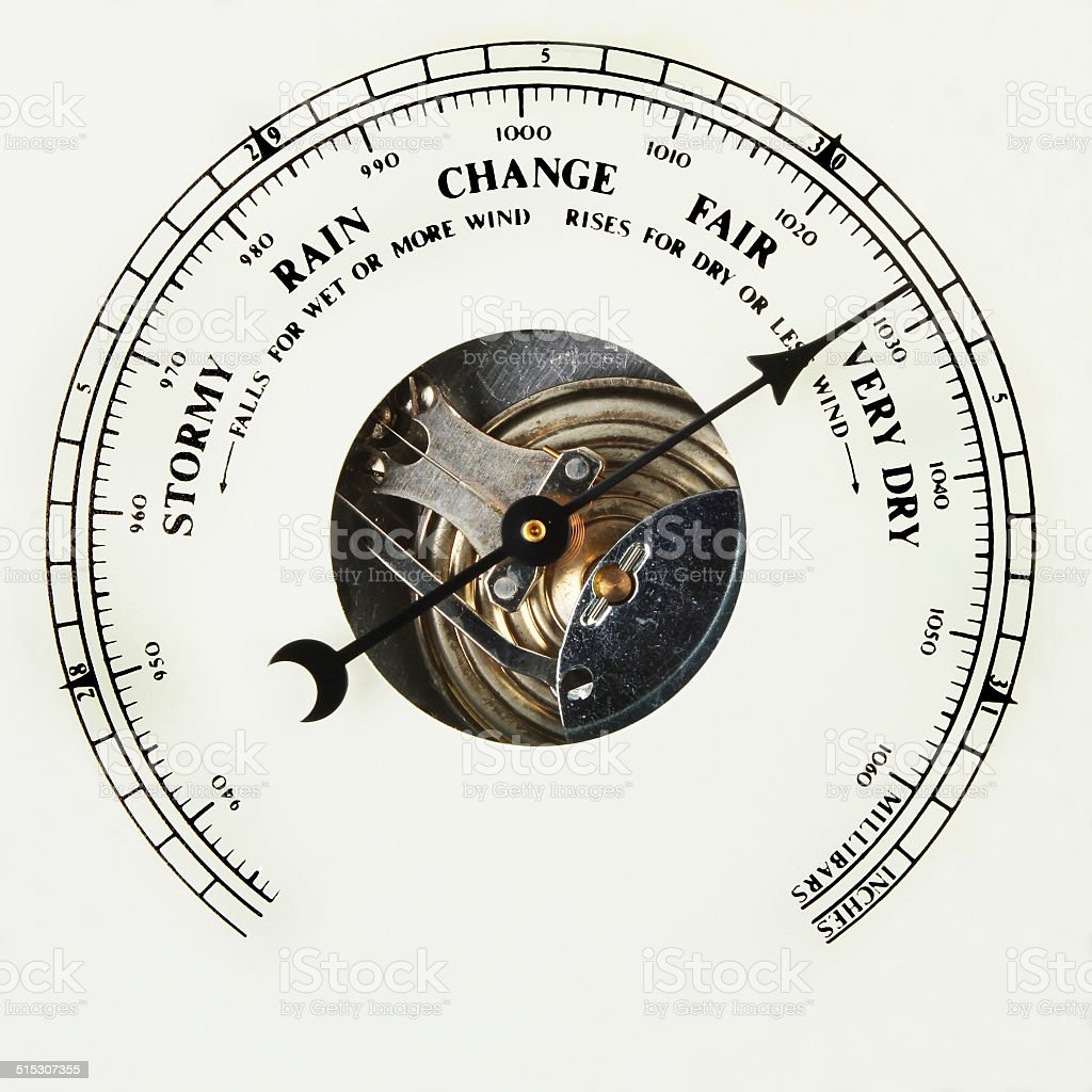 Barometer dial very dry stock photo