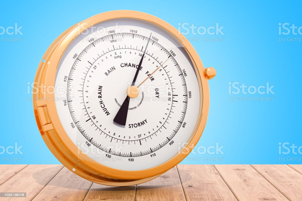 Barometer on the wooden desk, 3D rendering stock photo