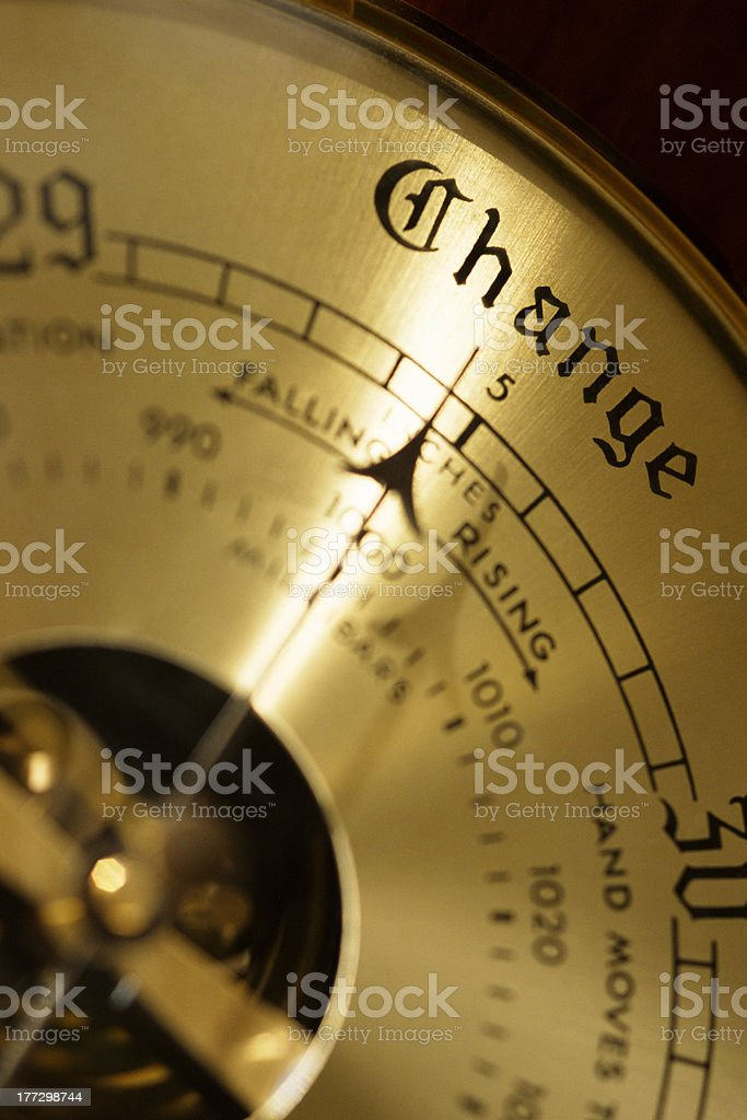 Barometer with arrow pointing to Change stock photo