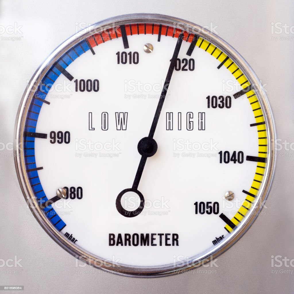 Barometer with shape of circle and analog millibar scale stock photo