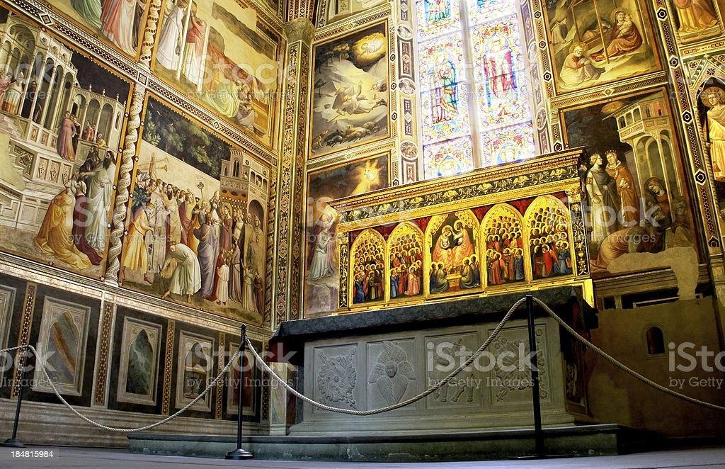 Baroncelli Chapel in Basilica di Santa Croce. Florence, Italy royalty-free stock photo