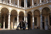 Turin, Italy - september 2020: baroque arcades in the inner courtyard of the rectory building in central Po street