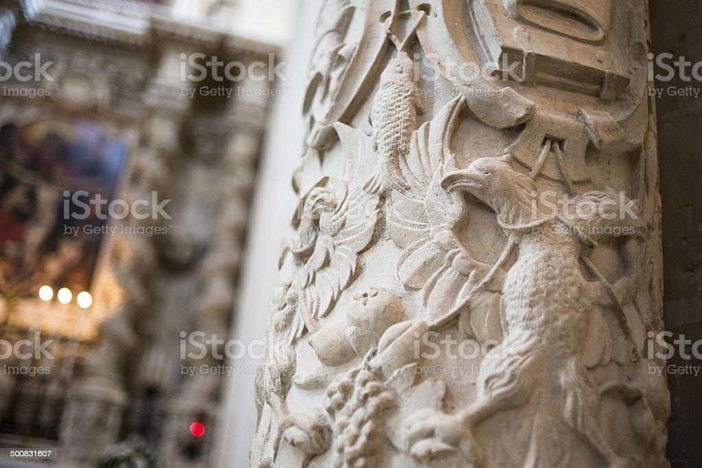 Baroque architecture in Basilica di Santa Croce, Lecce, Italy stock photo