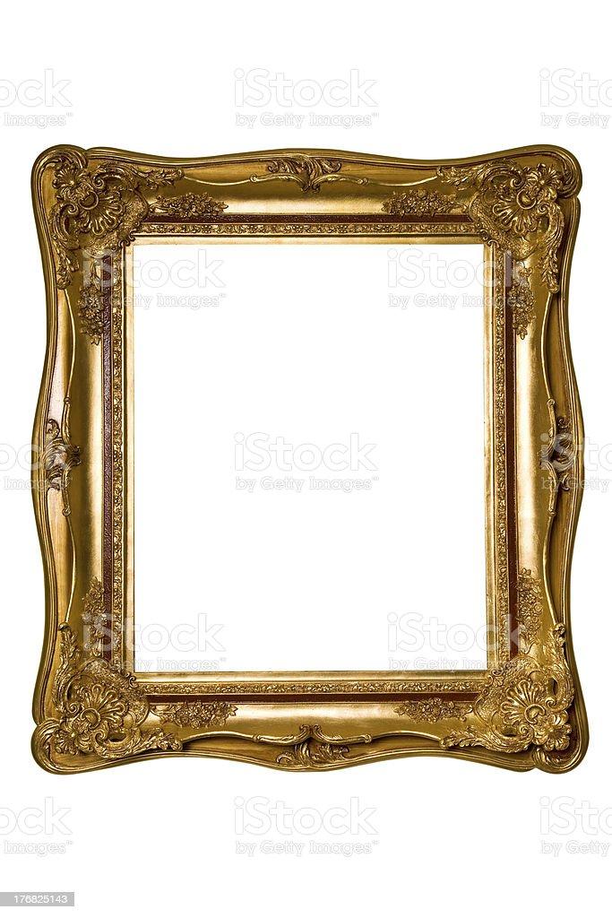 baroque art frame on white background royalty-free stock photo