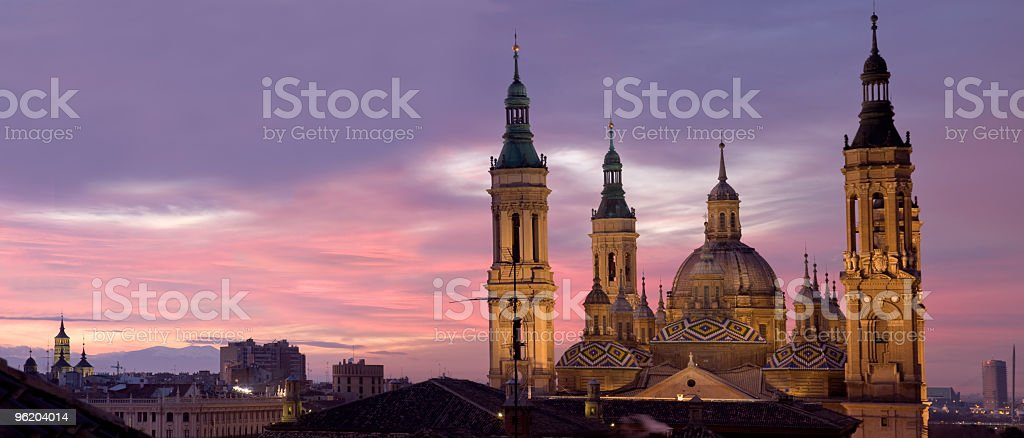 Baroque cathedral at dusk (panoramic composition) stock photo