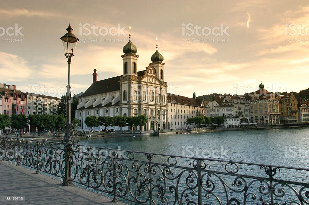 Baroque Cathedral On Luzern Waterfront stock photo