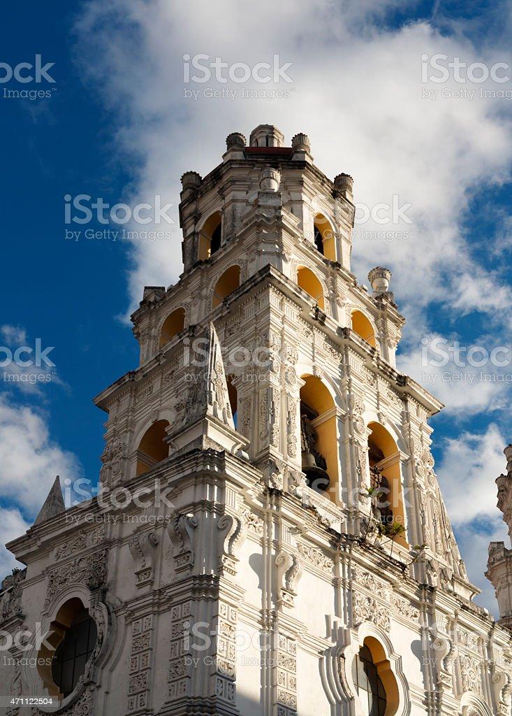 Baroque church in Puebla Mexico stock photo