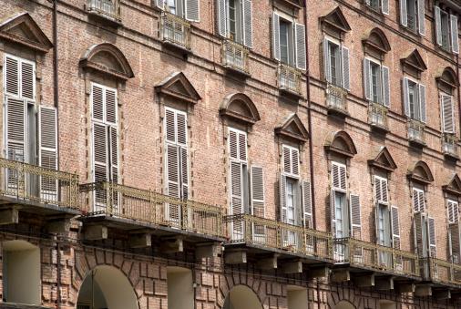 Baroque facade of a building in Turin
