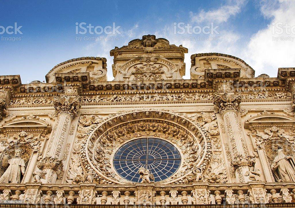 Baroque Facade of Basilica di Santa Croce in Lecce, Italy stock photo