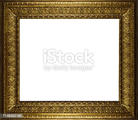 Golden frame with baroque meanders and palm decorations