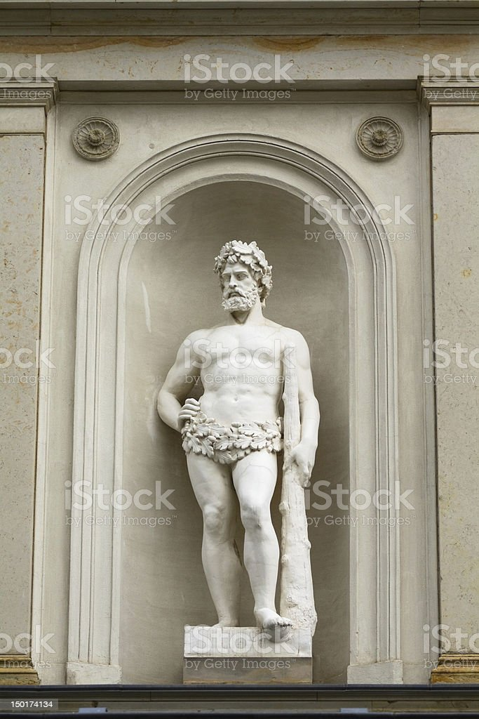 Baroque Greek Hercules sculpture at Castle Albrechtsberg stock photo