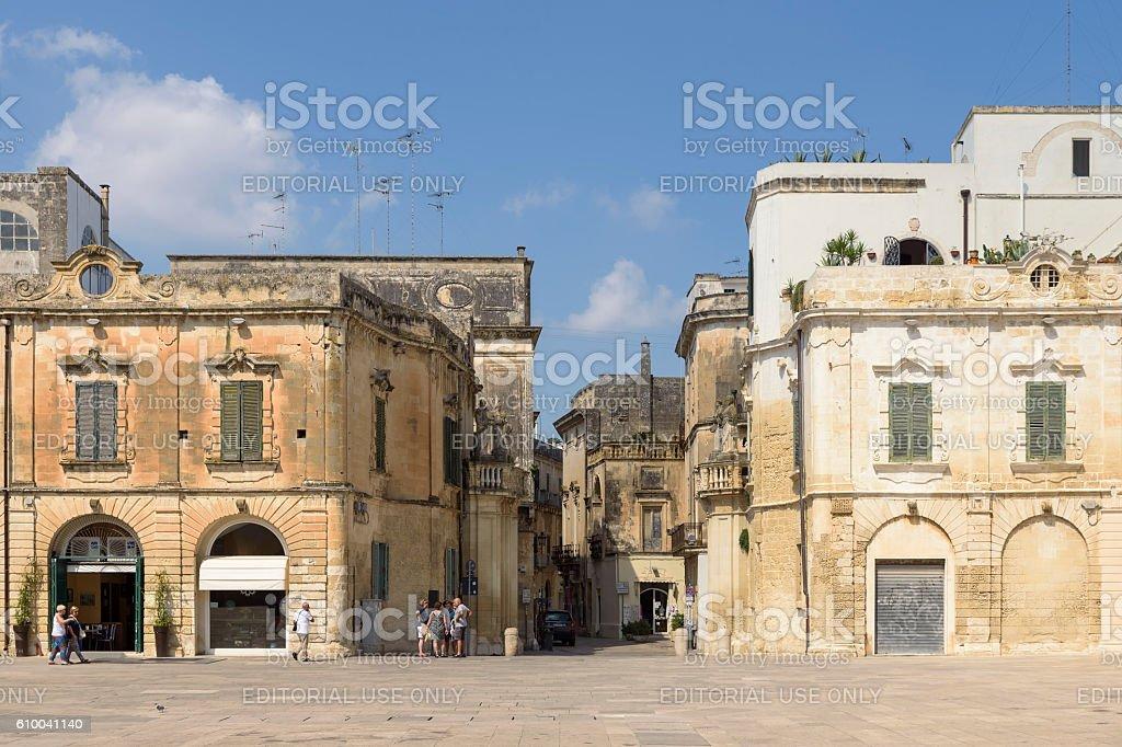 Baroque houses at Piazza del Duomo square, Lecce, Puglia, Italy stock photo