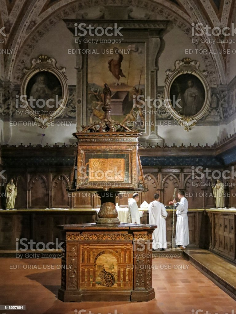 Baroque interior of The Abbey of Monte Oliveto Maggiore is a large Benedictine monastery in the Italian region of Tuscany, near Siena. stock photo