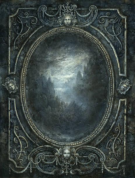 barocke spiegel - malerei türen stock-fotos und bilder