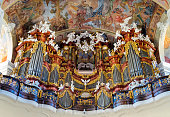 Baroque organ pipes in Basilica of the Assumption of the Blessed Virgin Mary, Krzeszów, Poland