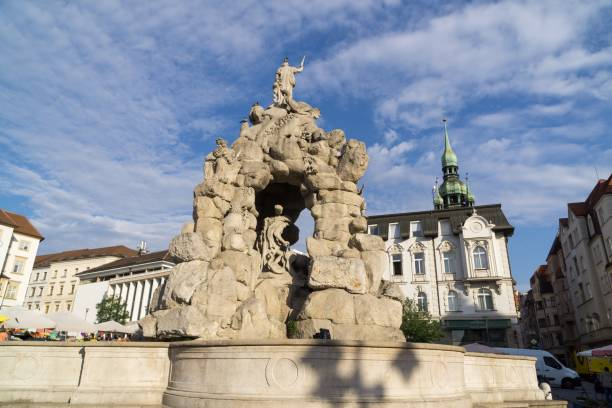Baroque Parnas Fountain in the center of Brno city. Czech Republic Brno, Czech Republic - Sep 12 2018: Baroque Parnas Fountain in the center of Brno city. Czech Republic brno stock pictures, royalty-free photos & images