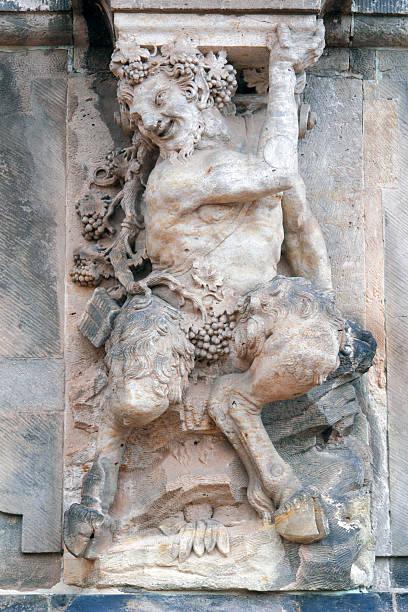 Baroque pillar sculpture. stock photo