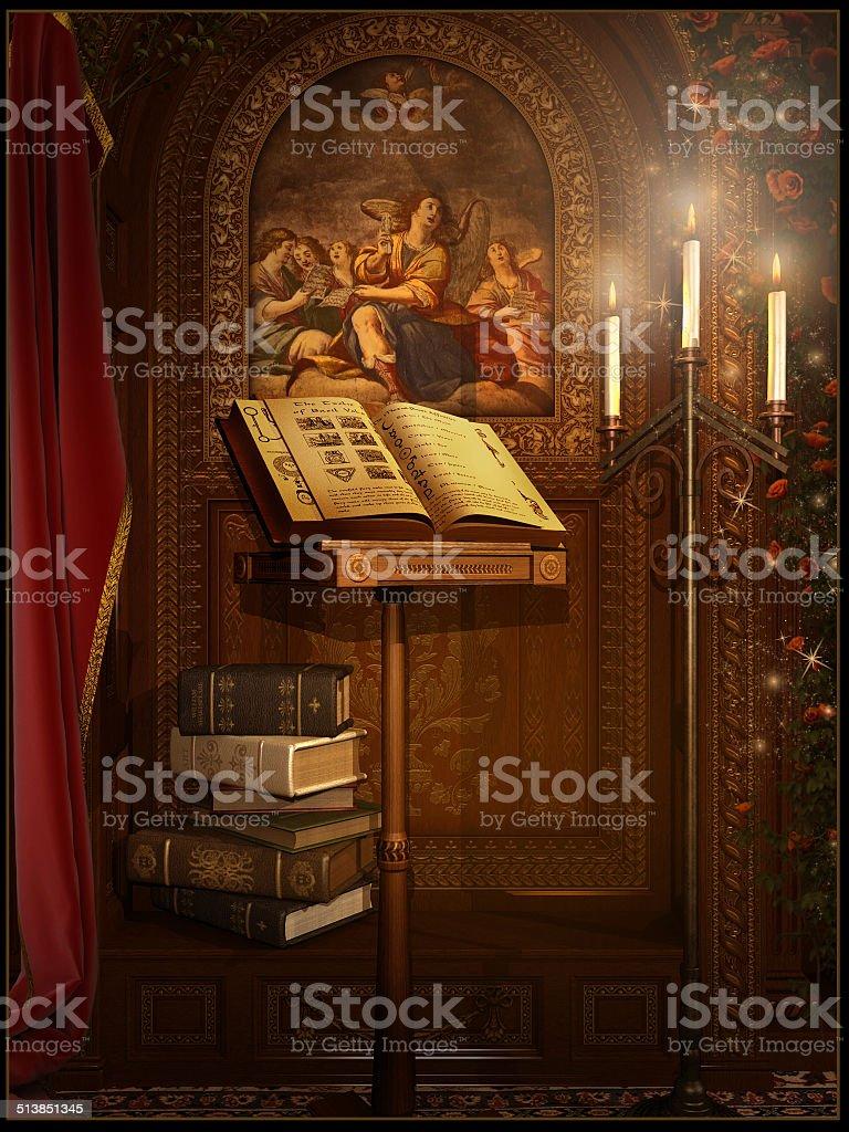 Baroque reading room stock photo