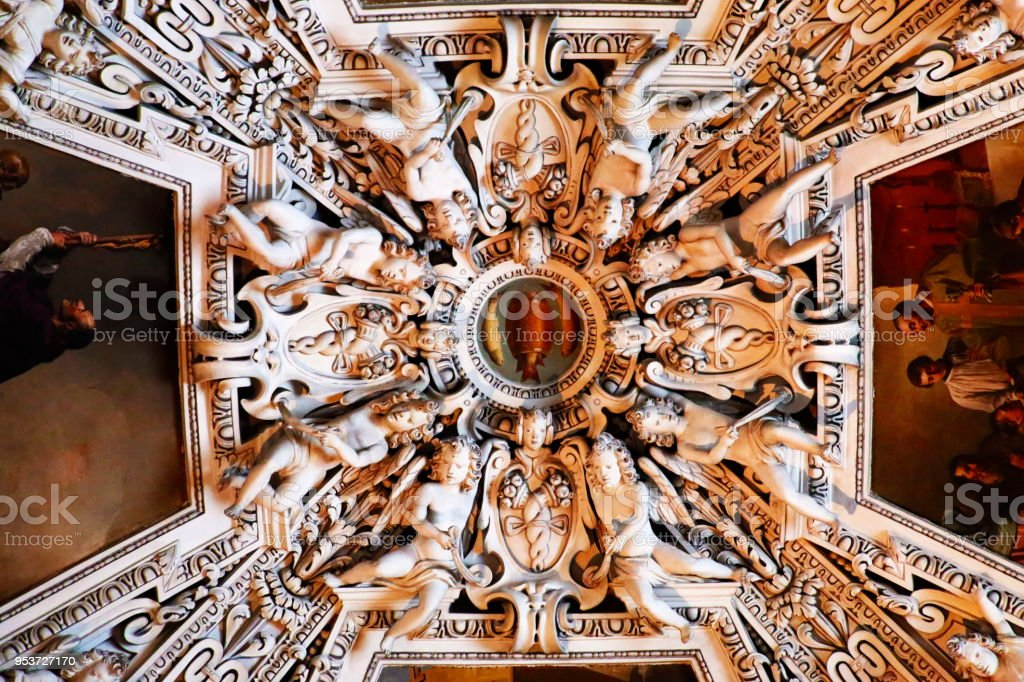 Baroque Salzburg Cathedral interior ornate roof dome from indoors, Austria stock photo