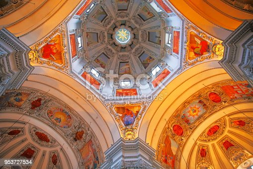 Impresive Baroque Salzburg Cathedral interior (FREE ENTRANCE!) ornate roof dome from indoors, Austria