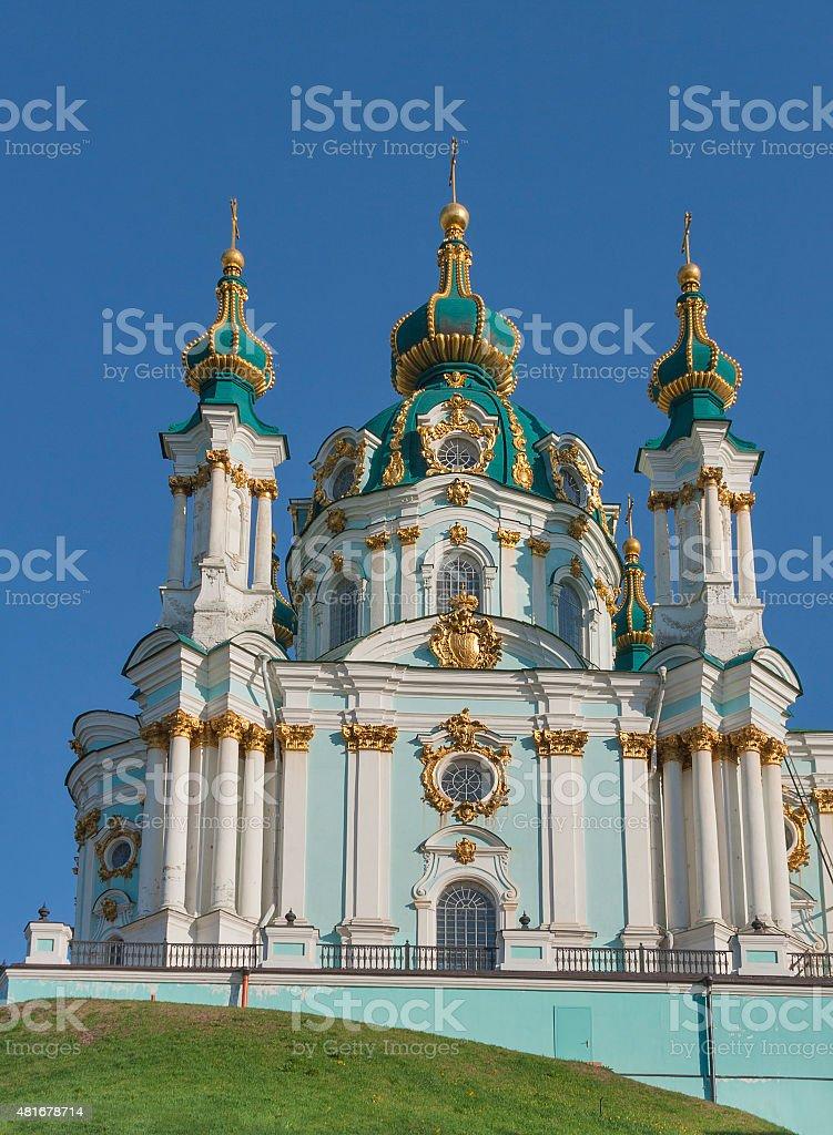 Baroque St. Andrew Church in Kiev, Ukraine stock photo