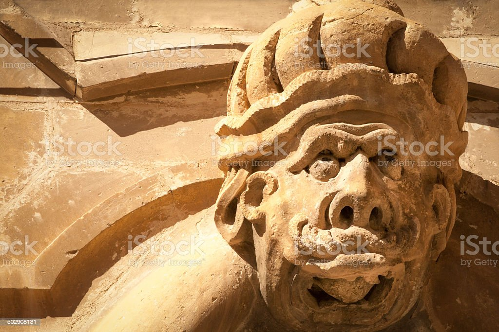 Baroque Stone Grotesque Sculpture in Southeast Sicily royalty-free stock photo