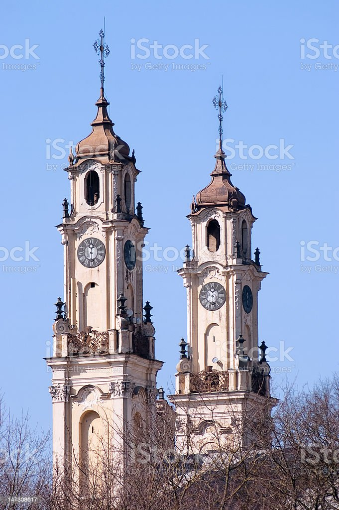 Baroque  style church towers royalty-free stock photo
