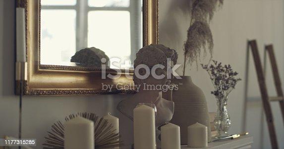 Elegant home interior. Golden details